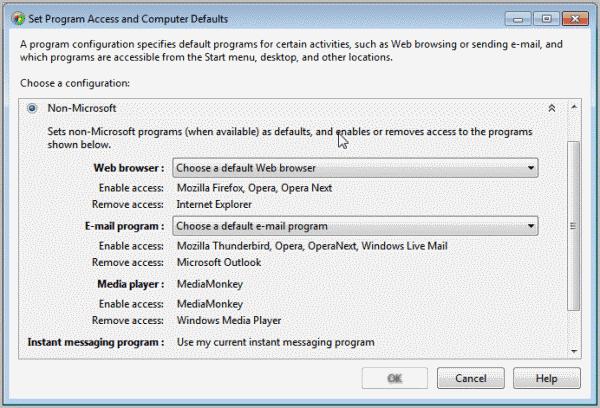 set program access computer defaults