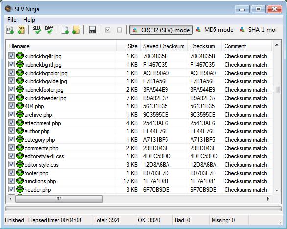 sfv ninja simple file verification