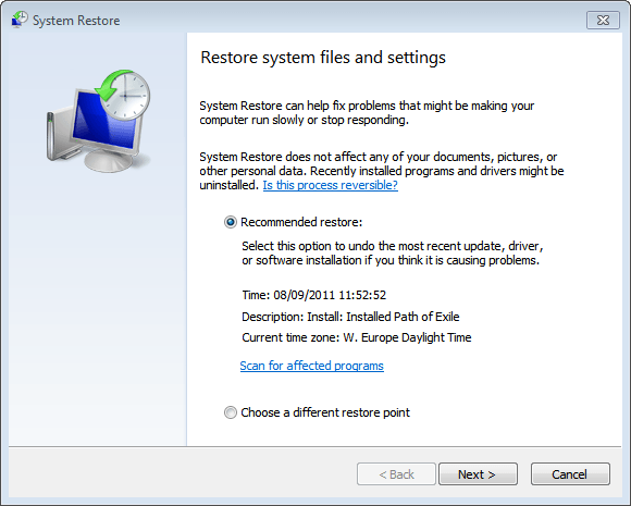 Running System Restore in Windows 7 from your Windows Disk