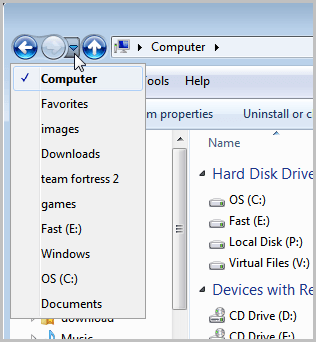 windows explorer folder history