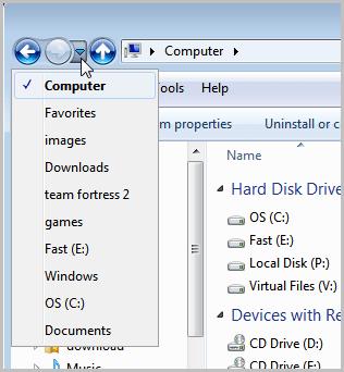 windows explorer folder history