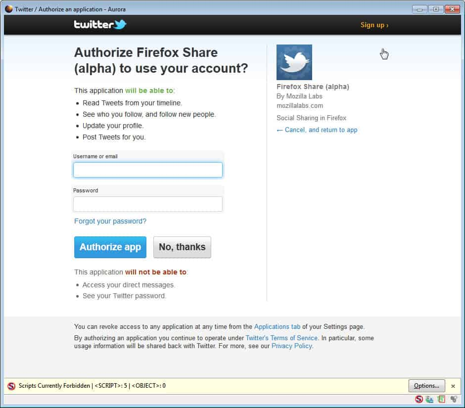 authorize firefox share