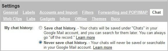 gmail google chat history