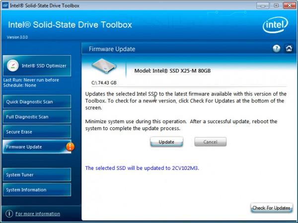 intel ssd firmware update