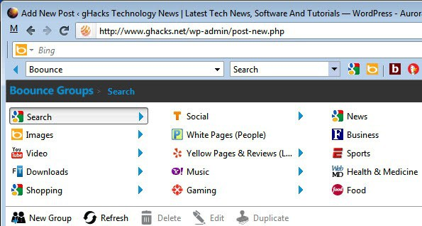 search toolbar