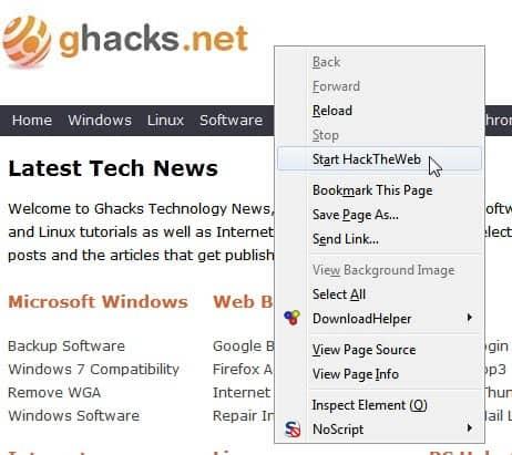 start hack the web