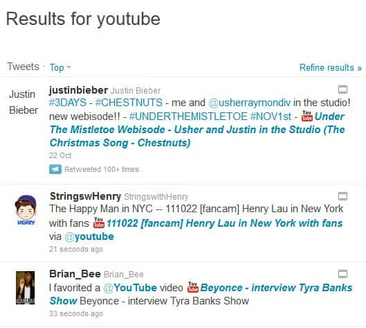twitter youtube link titles