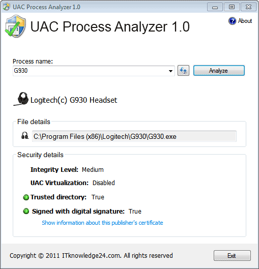 uac process analyzer