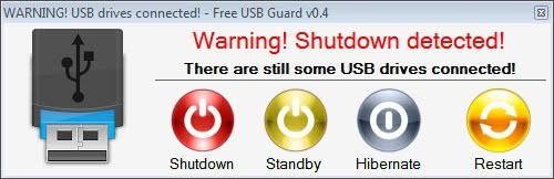 usb guard drive removal warning