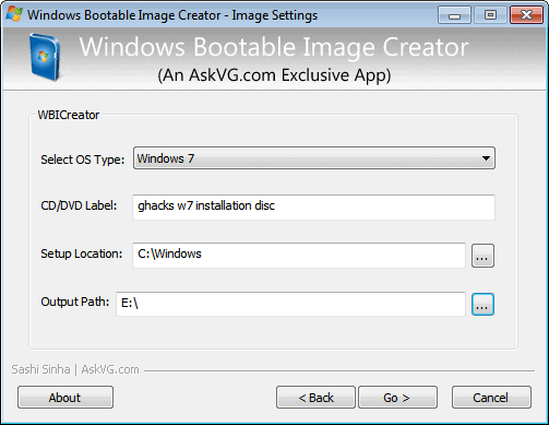 windows bootable image creator
