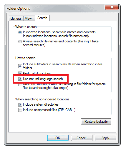 Using Natural Language Search in Windows 7