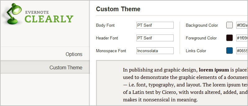 evernote clearly customization options