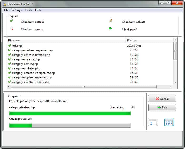 file verifier checksum control