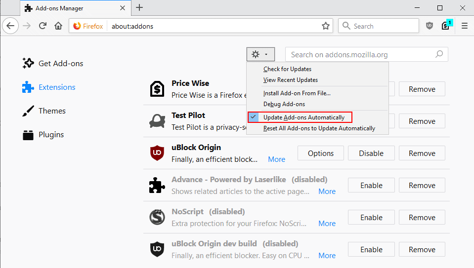 firefox block automatic extension updates