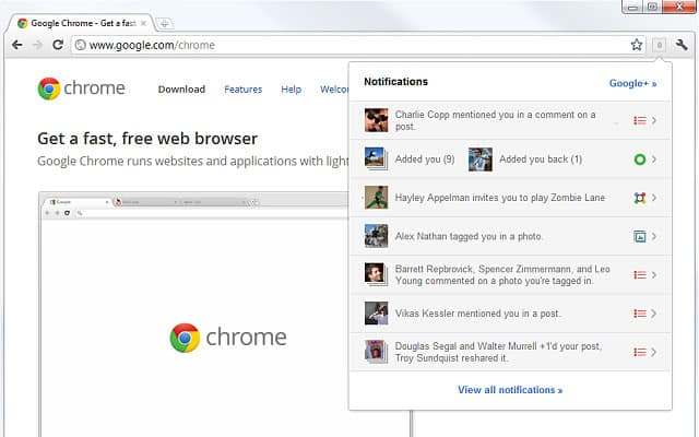google+ notifications extension