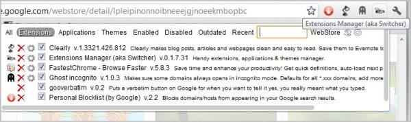 google chrome extensions manager