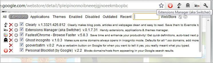 Google Chrome Extensions Manager (aka Switcher) - gHacks