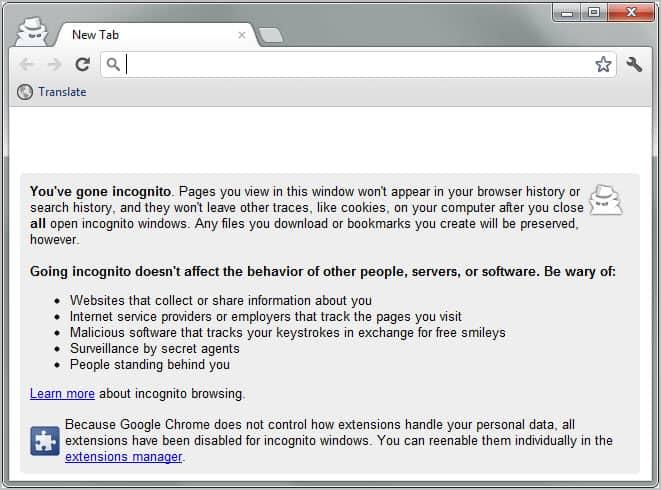 google chrome incognito mode start page