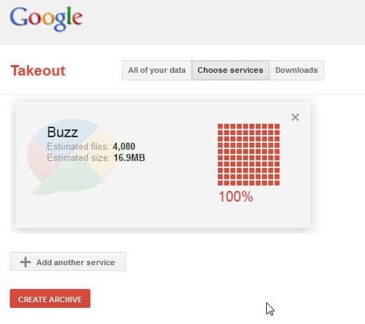 google takeout buzz