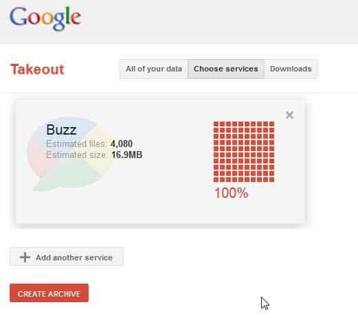 google takeout buzz