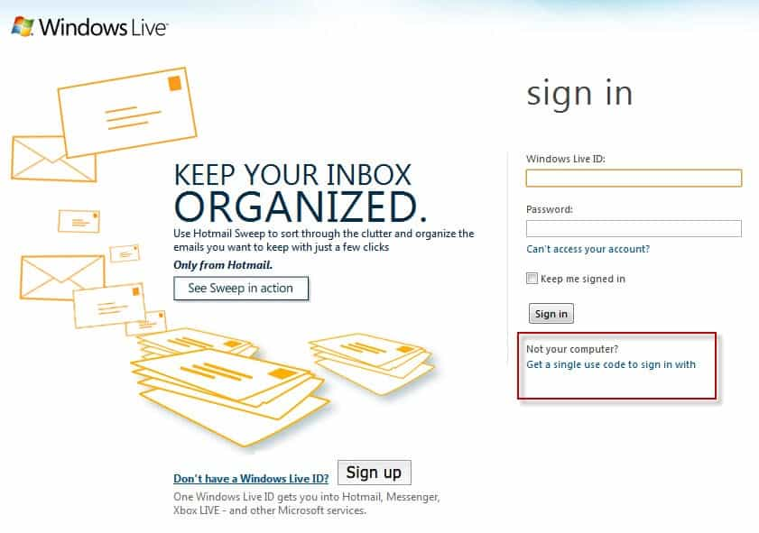 hotmail sign in single use code