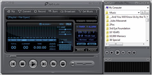 jet audio player interface