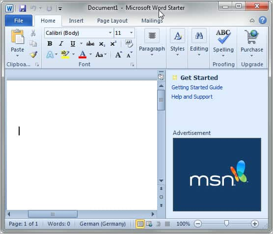 microsoft office word starter