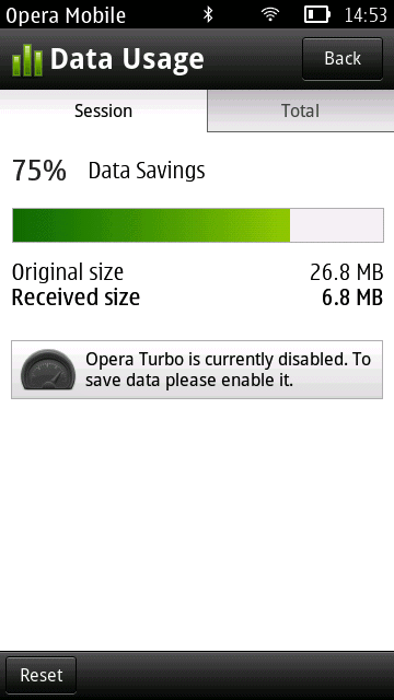 opera mobile 11.5 data usage
