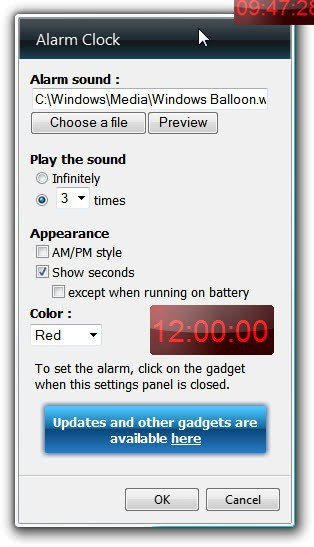 windows alarm clock