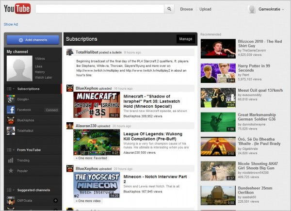 youtube new homepage