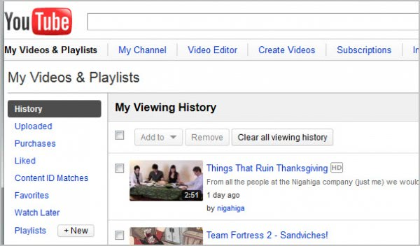 youtube viewing history