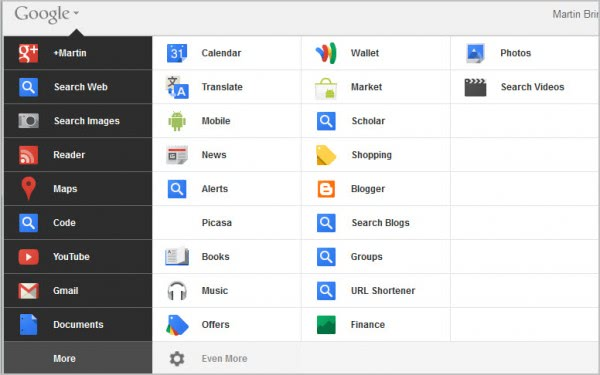 customized google menu