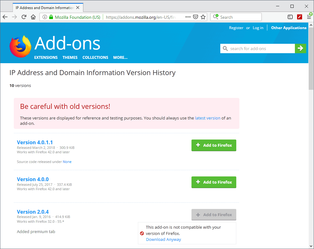 firefox extensions old versions