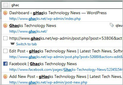 How To Tweak The Firefox Address Bar - gHacks Tech News
