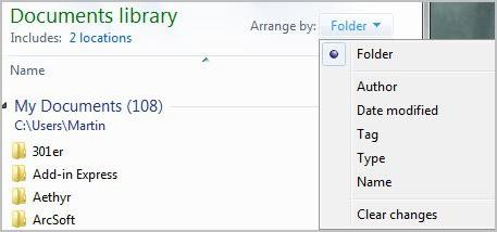 folder arrange by