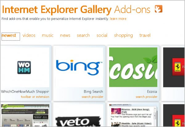 internet explorer search add-ons