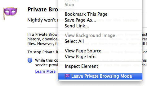 open link private browsing