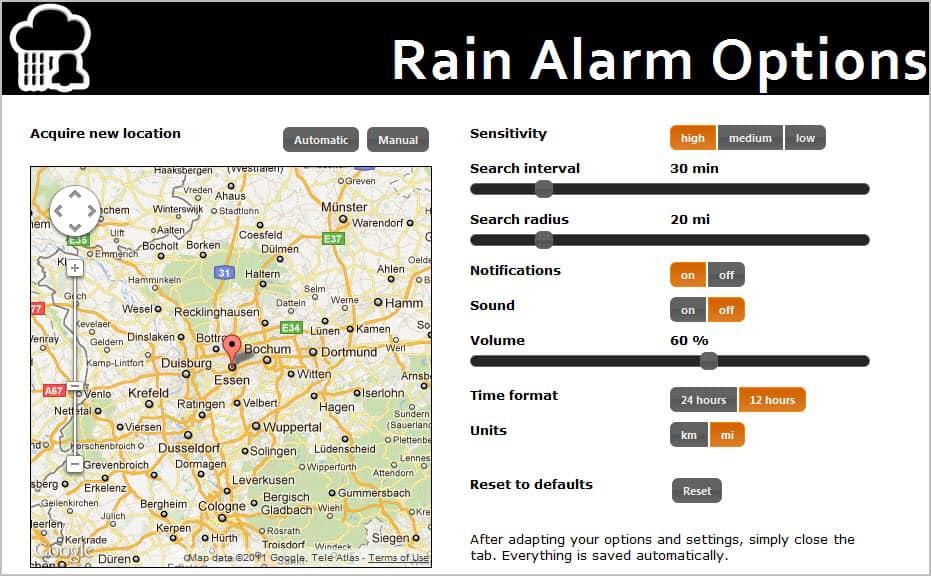 rain alarm options