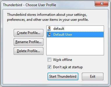 thunderbird create profile