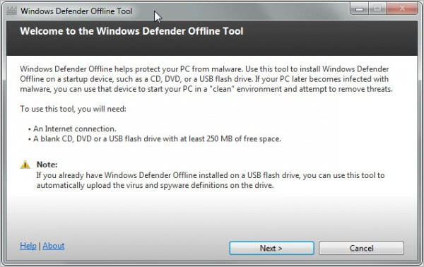 windows defender offline tool