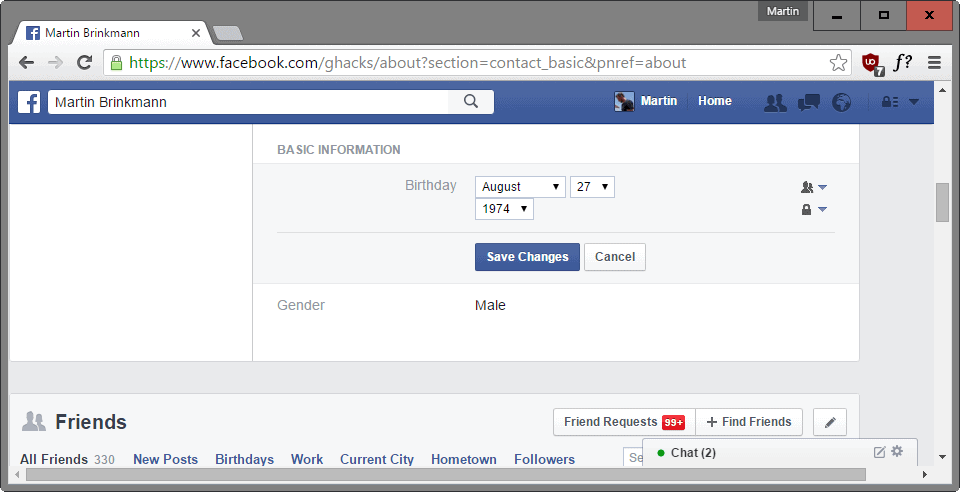 facebook change birthday