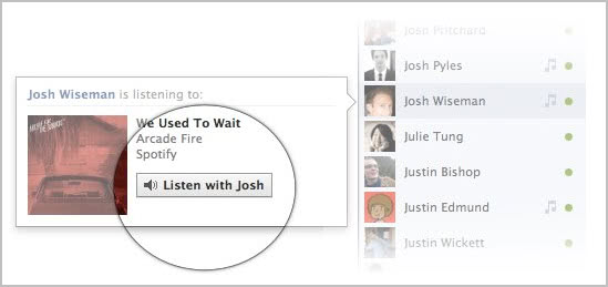 facebook listen with music