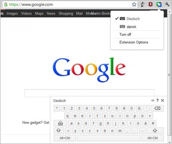 google chrome keyboard layout