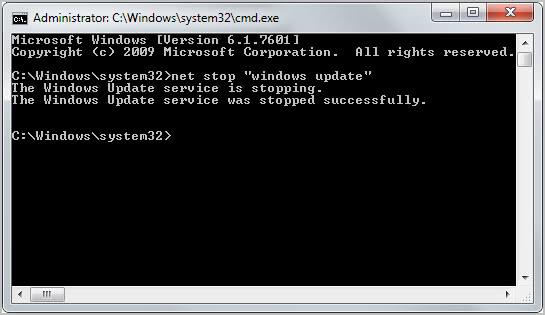 net stop windows update