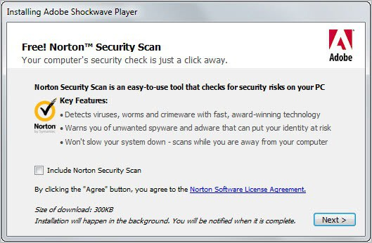 Adobe Shockwave Player Now Installs Norton Security Scan - gHacks