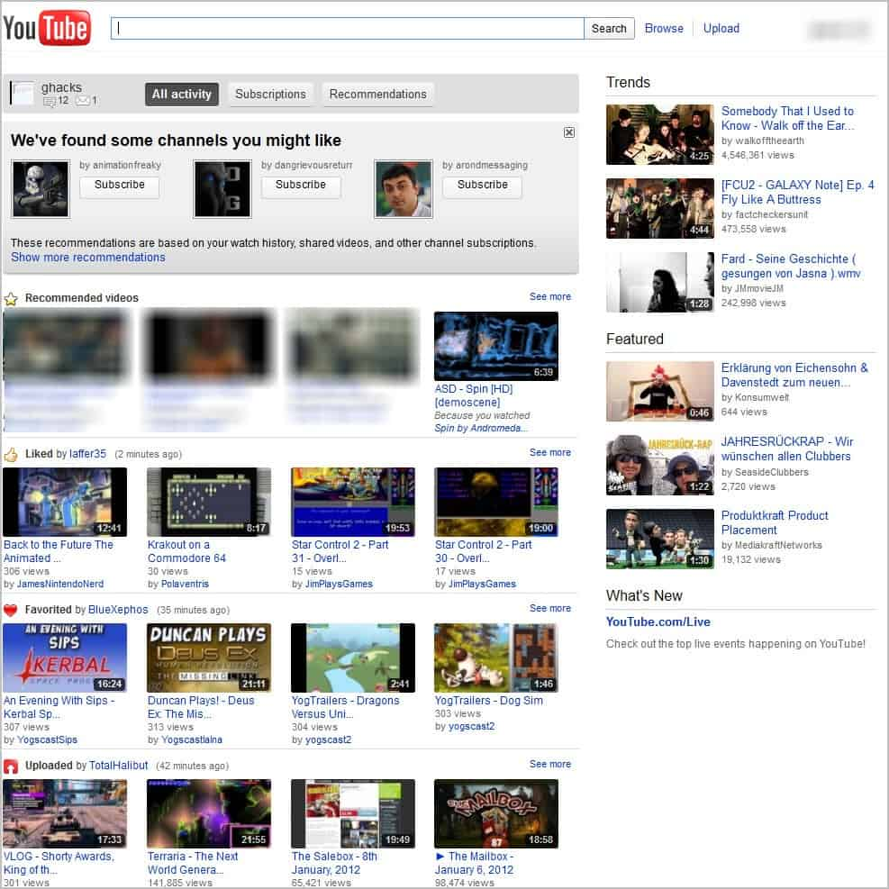 old youtube page