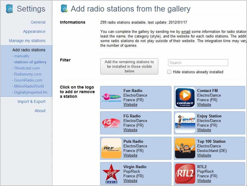 Manage And Play Internet Radio In Google Chrome - gHacks Tech News
