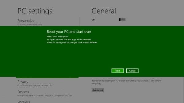 reset windows 8