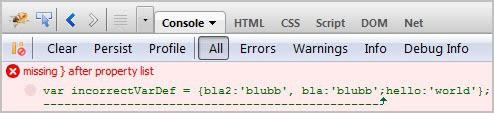 syntax error highlighting