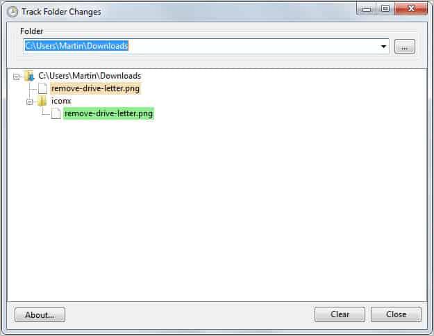 track folder changes